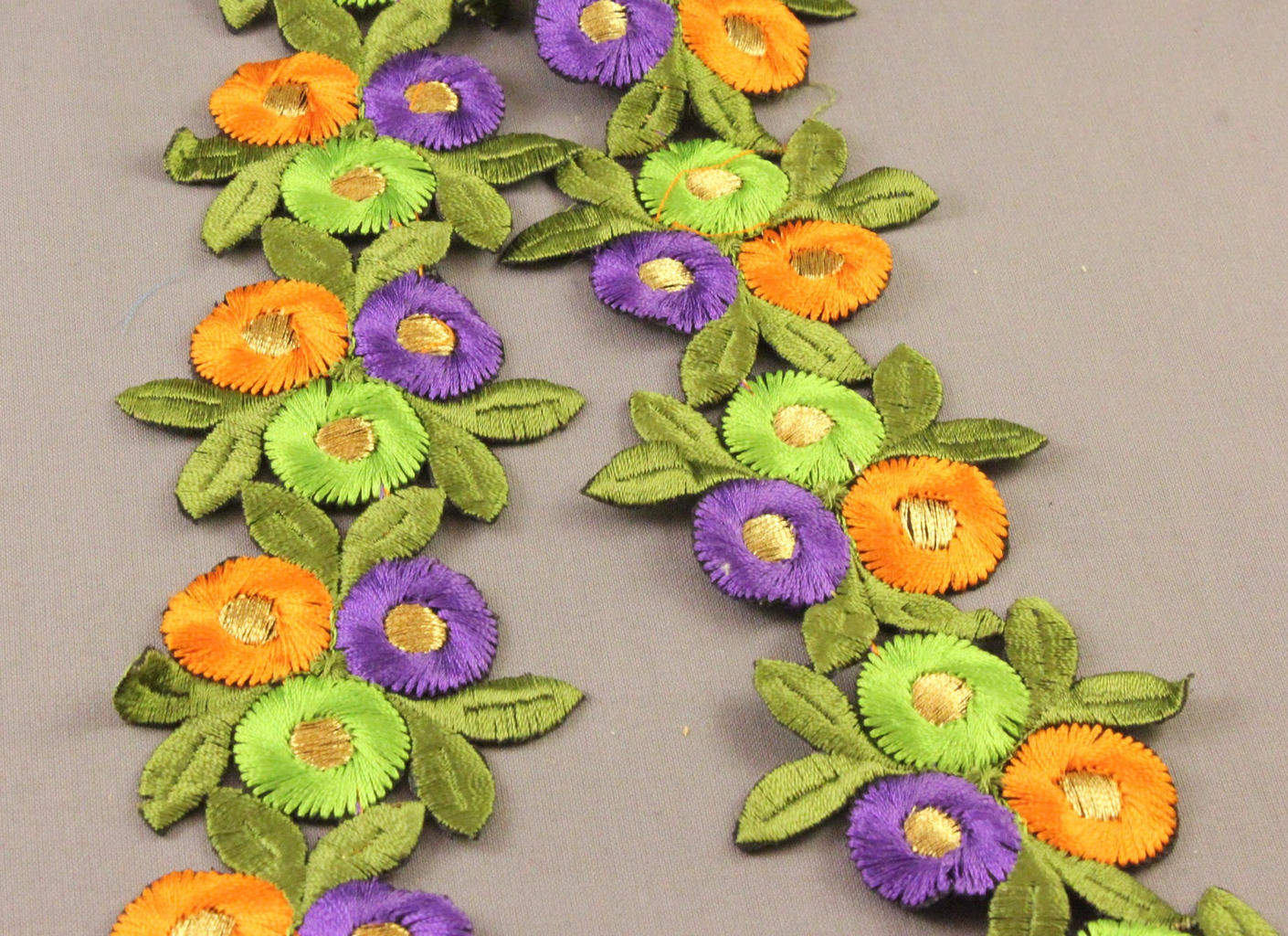 Circle Flowers Embroidered Trim 60mm Iron On Orange Lime Green And Purple Button Box Devon