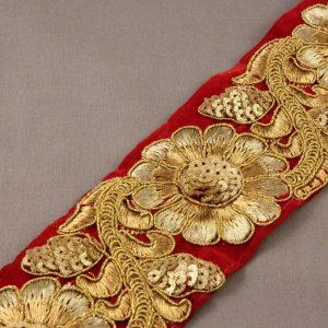 velvet embossed embroidered trim