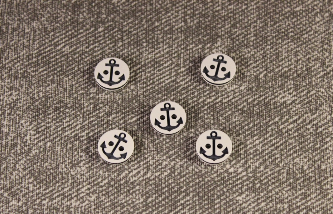 White Buttons with Navy Blue Anchor - 2 hole 15mm