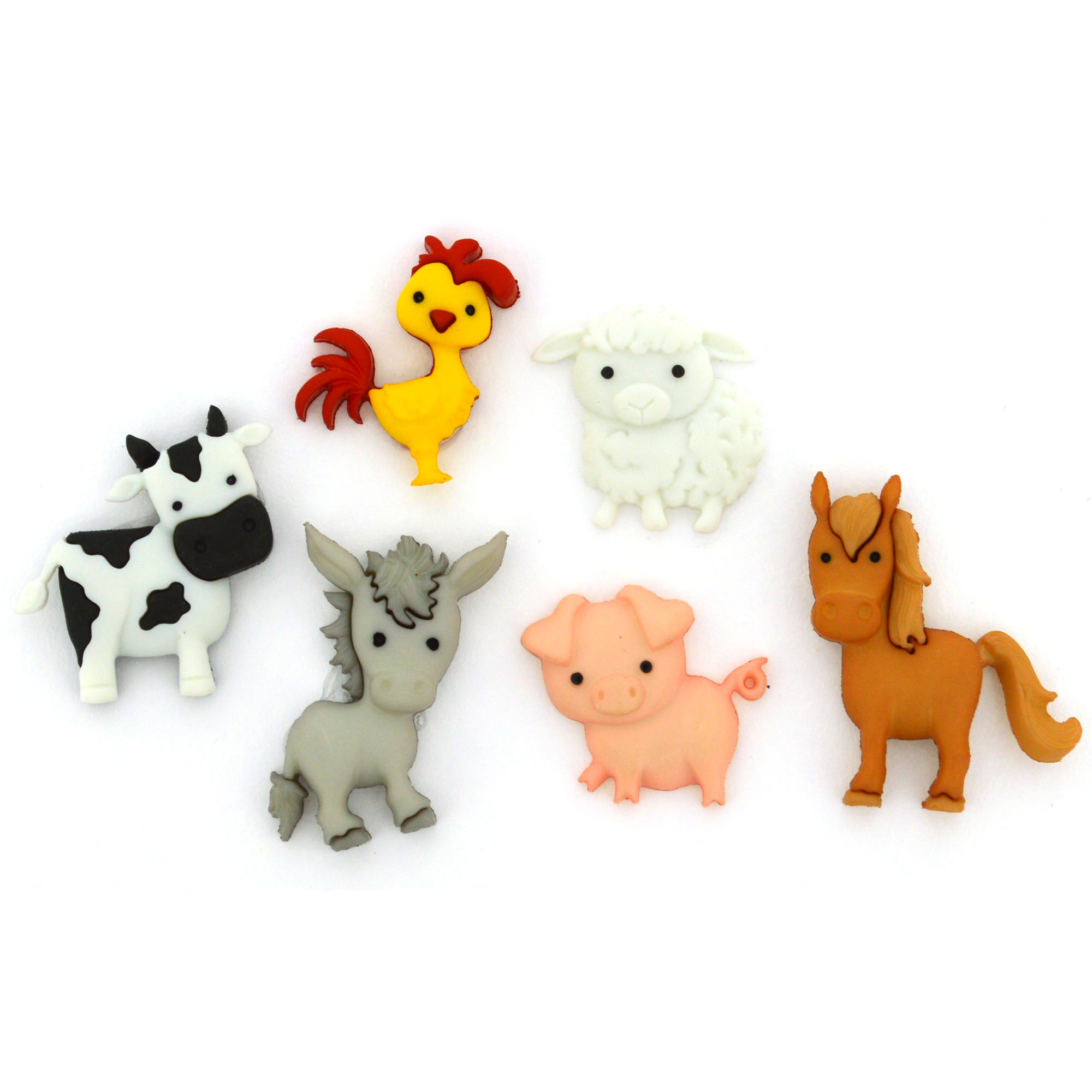 Horse Donkey Chicken Cow Pig Sheep Dress it Up Buttons In The Barnyard 10418